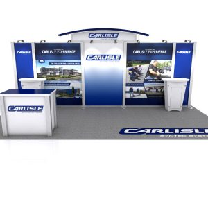 Apogee Exhibit's design for Carlisle Construction Materials custom modular trade show booth for NERCA 2018.