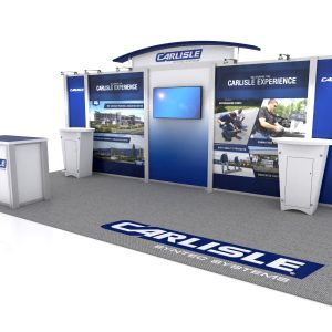 Apogee Exhibit's design for Carlisle Construction Materials custom modular trade show exhibit for North East Roofing Contractors Association 2018 convention and trade show.
