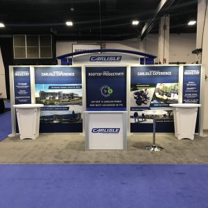 10 by 20 modular trade show display designed by Apogee Exhibits for Carlisle Construction Materials for the NERCA 2018 show - the largest roofing industry trade show in the northeast.