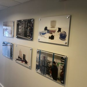 Acrylic mounted graphics with standoffs