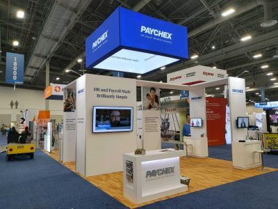 Trade show booth for Paychex at SHRM 2021